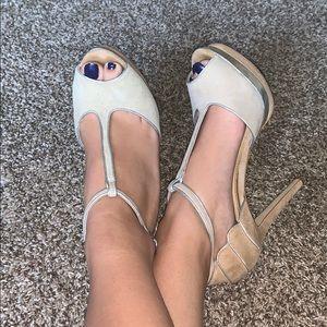 Nude/silver high heels
